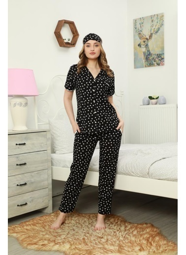 POKY POKY Kadın Pijama Takımı Kısa Kol Pamuklu Düğmeli Beyaz